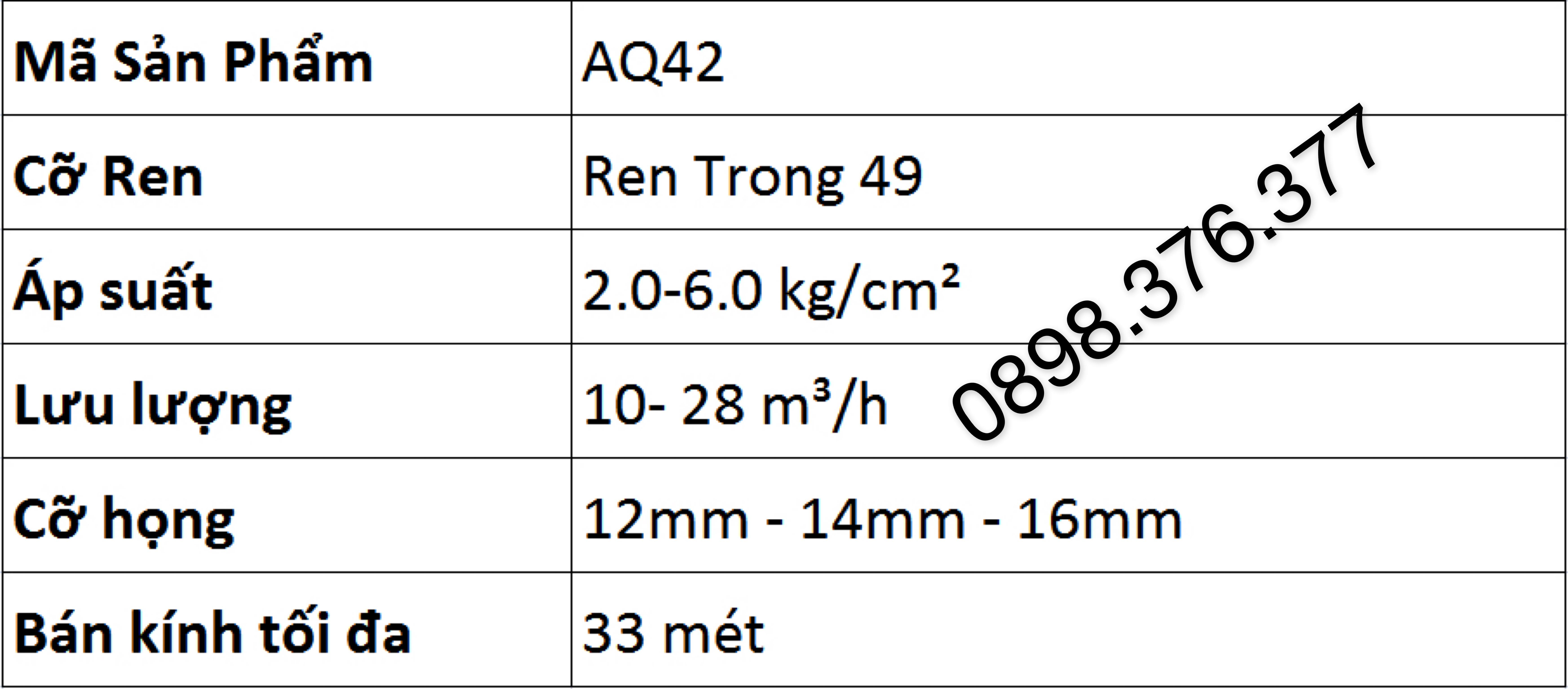 bảng thông số kỹ thuật béc aq42 ấn độ
